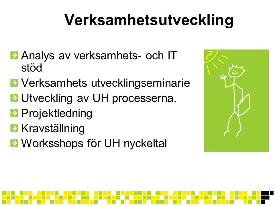 Verksamhetsutveckling Analys av verksamhets- och IT stöd Verksamhets utvecklingseminarie Utveckling av UH processerna. Projektledning Kravställning Wo