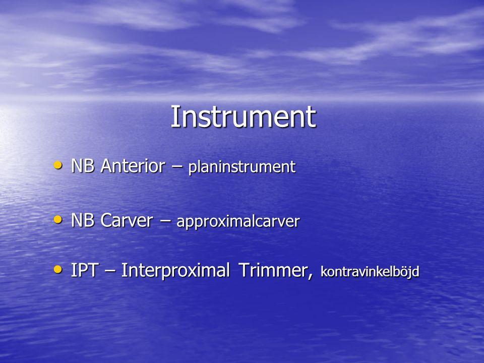 Instrument • NB Anterior – planinstrument • NB Carver – approximalcarver • IPT – Interproximal Trimmer, kontravinkelböjd