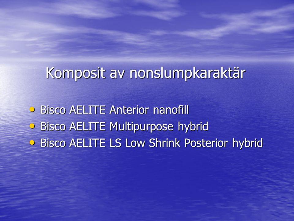 Komposit av nonslumpkaraktär • Bisco AELITE Anterior nanofill • Bisco AELITE Multipurpose hybrid • Bisco AELITE LS Low Shrink Posterior hybrid