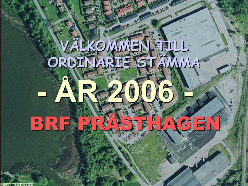 BRF Prästhagen, årsstämma 2006 VÄLKOMMEN TILL ORDINARIE STÄMMA BRF PRÄSTHAGEN - ÅR 2006 -