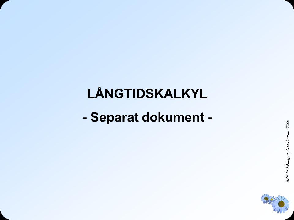 BRF Prästhagen, årsstämma 2006 LÅNGTIDSKALKYL - Separat dokument -