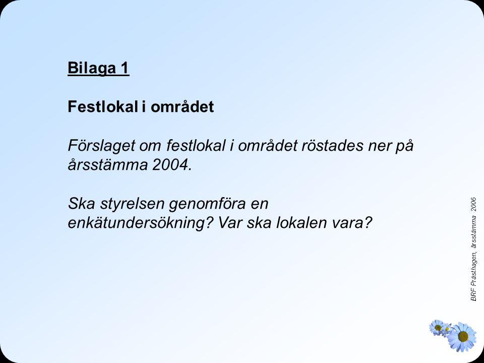 BRF Prästhagen, årsstämma 2006 Bilaga 1 Festlokal i området Förslaget om festlokal i området röstades ner på årsstämma 2004.