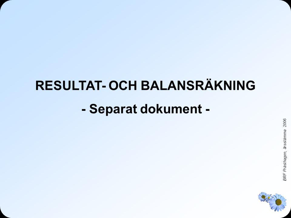 BRF Prästhagen, årsstämma 2006 RESULTAT- OCH BALANSRÄKNING - Separat dokument -