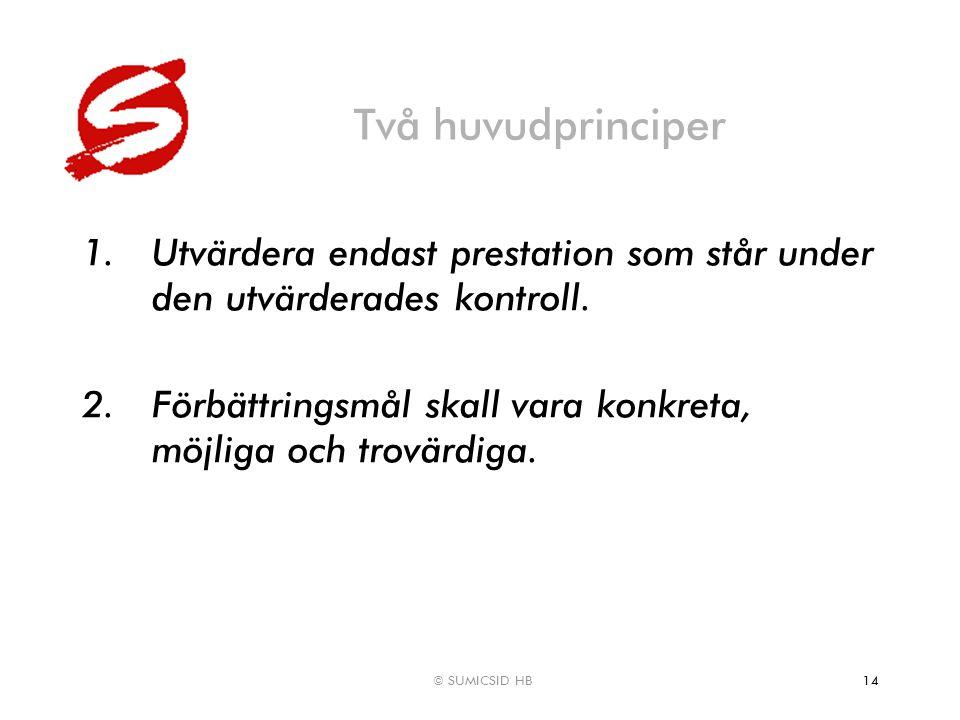© SUMICSID HB14 Två huvudprinciper 1.Utvärdera endast prestation som står under den utvärderades kontroll. 2.Förbättringsmål skall vara konkreta, möjl