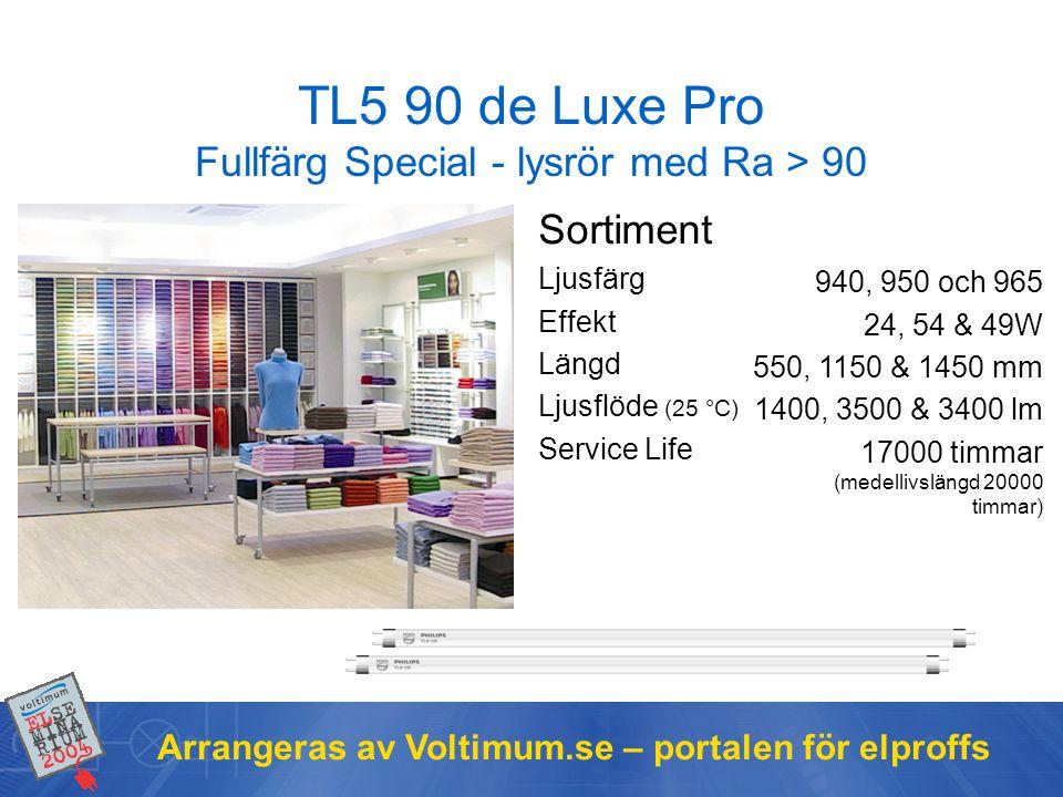 Arrangeras av Voltimum.se – portalen för elproffs TL5 90 de Luxe Pro Fullfärg Special - lysrör med Ra > 90 Sortiment Ljusfärg Effekt Längd Ljusflöde (