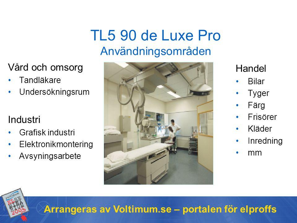 Arrangeras av Voltimum.se – portalen för elproffs TL5 90 de Luxe Pro Användningsområden Vård och omsorg •Tandläkare •Undersökningsrum Industri •Grafis
