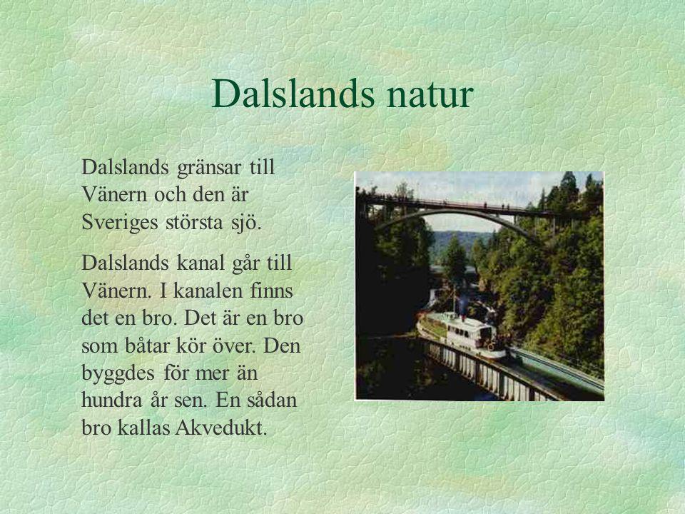 Dalslands natur Dalslands gränsar till Vänern och den är Sveriges största sjö. Dalslands kanal går till Vänern. I kanalen finns det en bro. Det är en