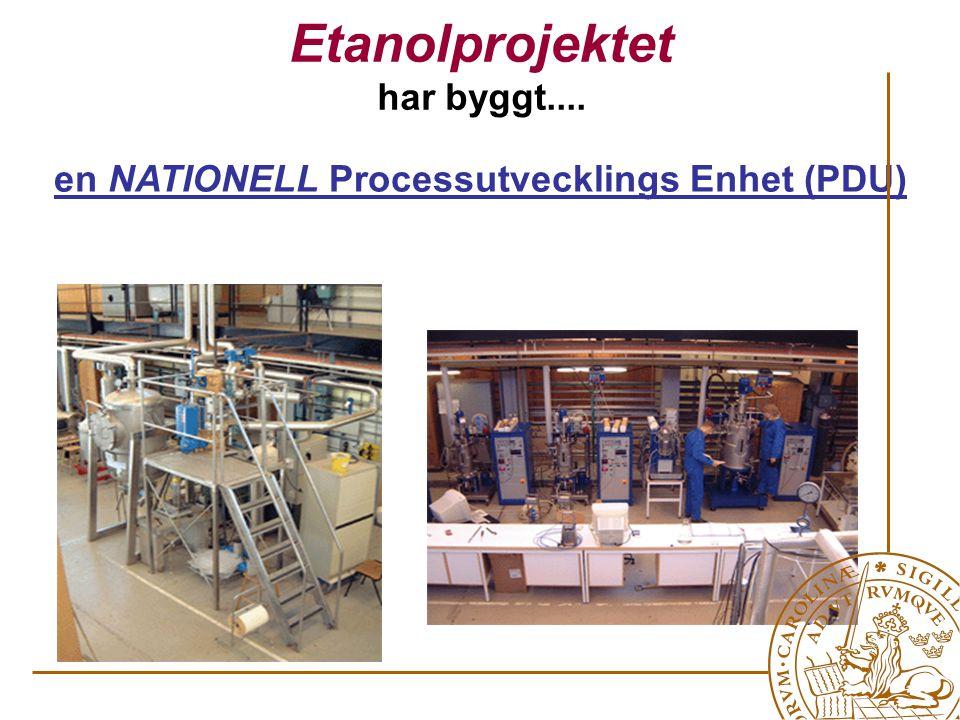 Etanolprojektet har byggt.... en NATIONELL Processutvecklings Enhet (PDU)