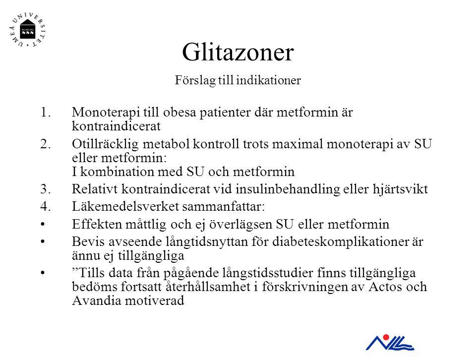 Glitazoner Förslag till indikationer 1.Monoterapi till obesa patienter där metformin är kontraindicerat 2.Otillräcklig metabol kontroll trots maximal