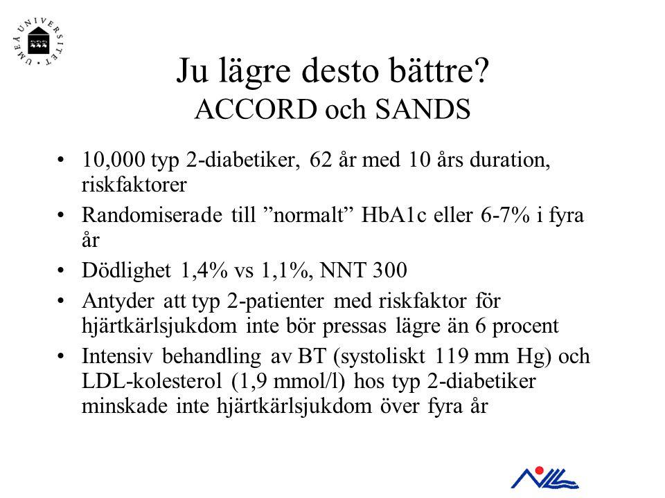 """Ju lägre desto bättre? ACCORD och SANDS •10,000 typ 2-diabetiker, 62 år med 10 års duration, riskfaktorer •Randomiserade till """"normalt"""" HbA1c eller 6-"""