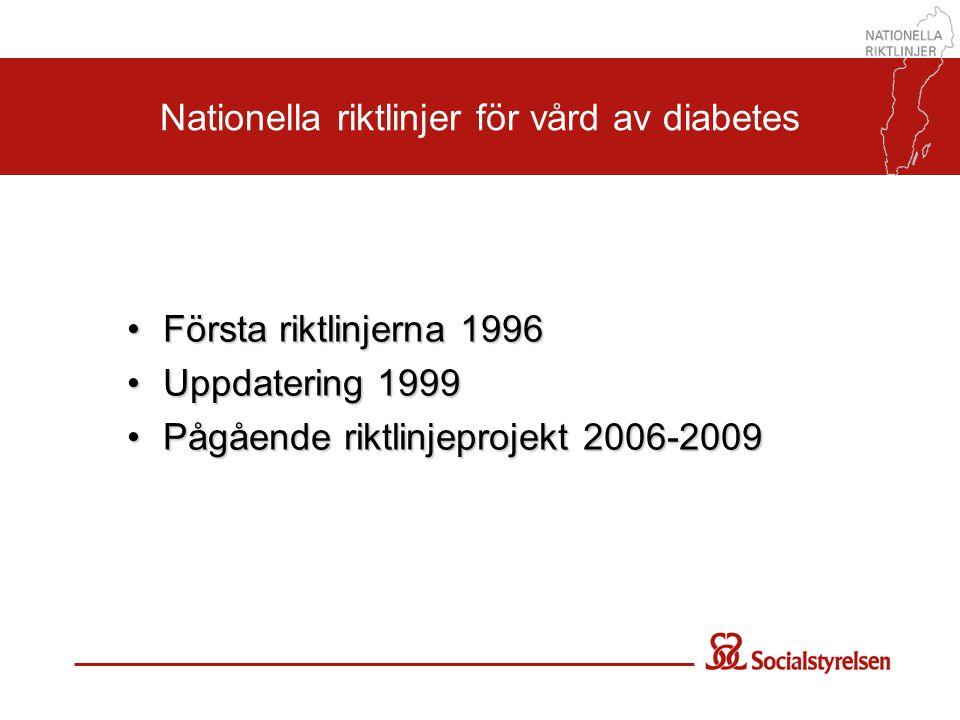 Nationella riktlinjer för vård av diabetes •Första riktlinjerna 1996 •Uppdatering 1999 •Pågående riktlinjeprojekt 2006-2009