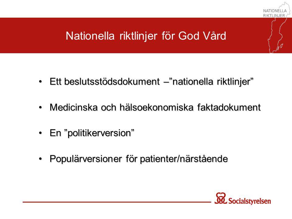 """Nationella riktlinjer för God Vård •Ett beslutsstödsdokument –""""nationella riktlinjer"""" •Medicinska och hälsoekonomiska faktadokument •En """"politikervers"""
