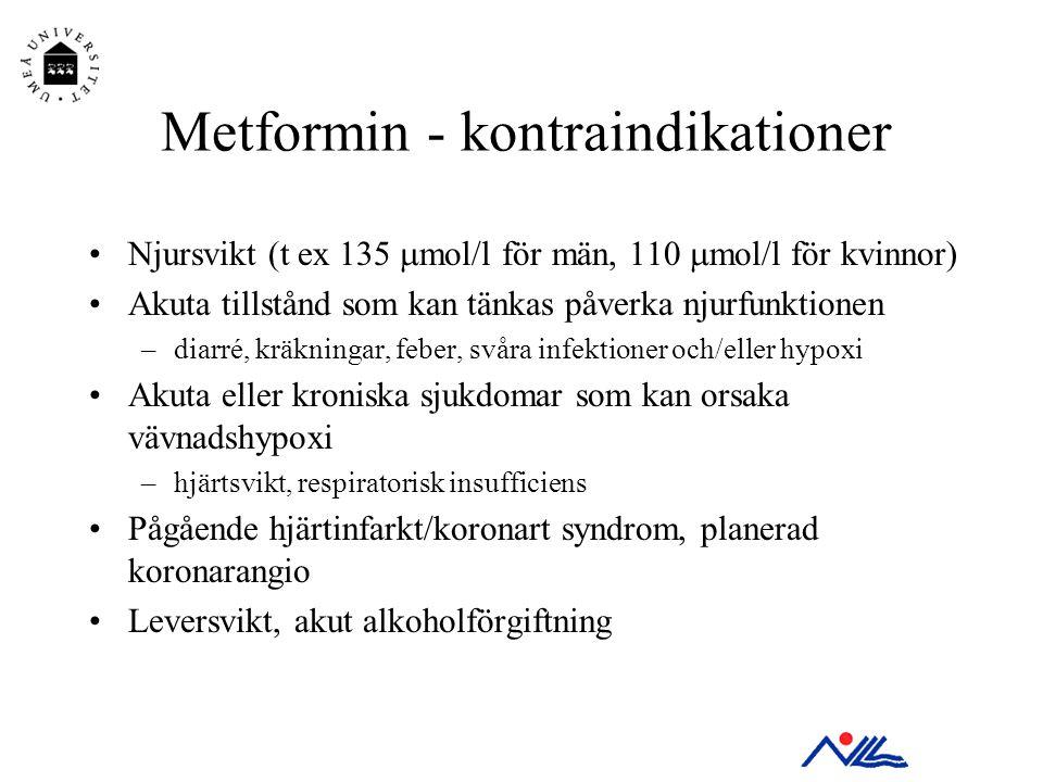Metformin - kontraindikationer •Njursvikt (t ex 135  mol/l för män, 110  mol/l för kvinnor) •Akuta tillstånd som kan tänkas påverka njurfunktionen –
