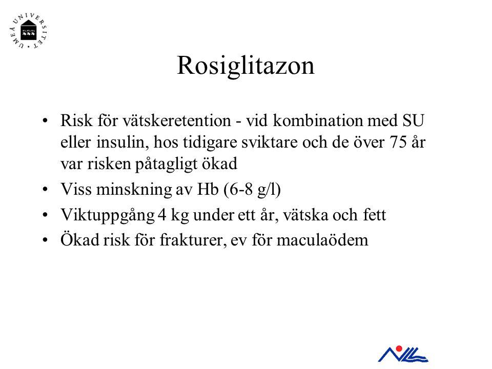 Rosiglitazon •Risk för vätskeretention - vid kombination med SU eller insulin, hos tidigare sviktare och de över 75 år var risken påtagligt ökad •Viss