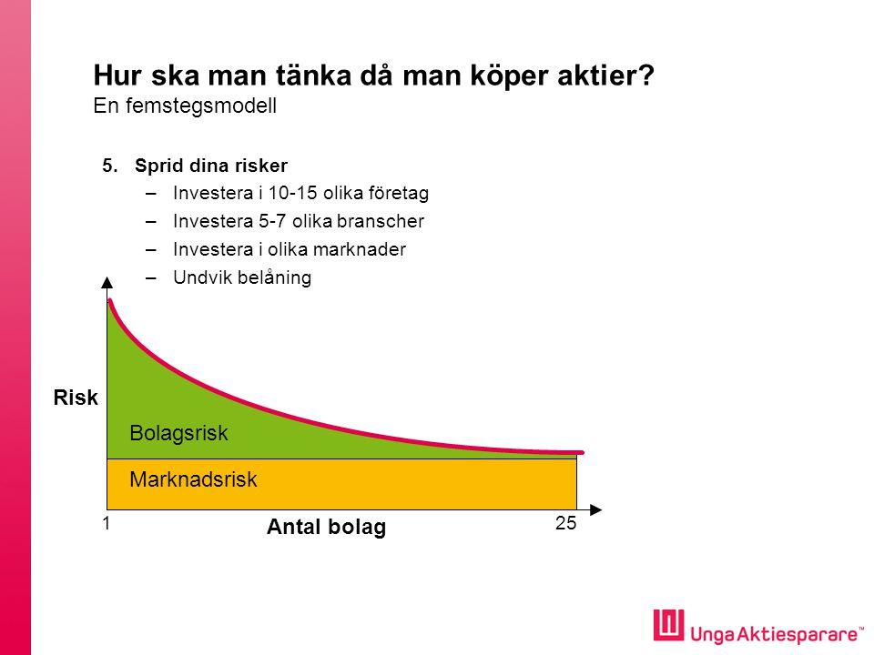 Antal bolag Bolagsrisk Marknadsrisk 125 Hur ska man tänka då man köper aktier.