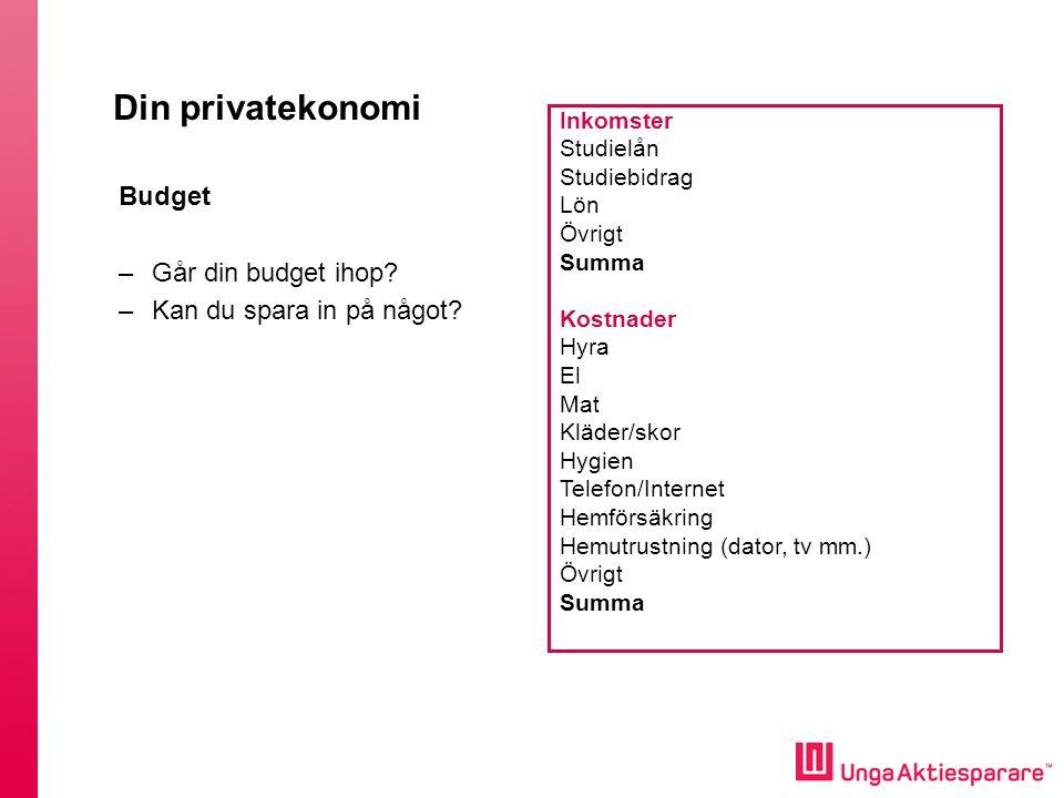 Din privatekonomi Budget –Går din budget ihop.–Kan du spara in på något.