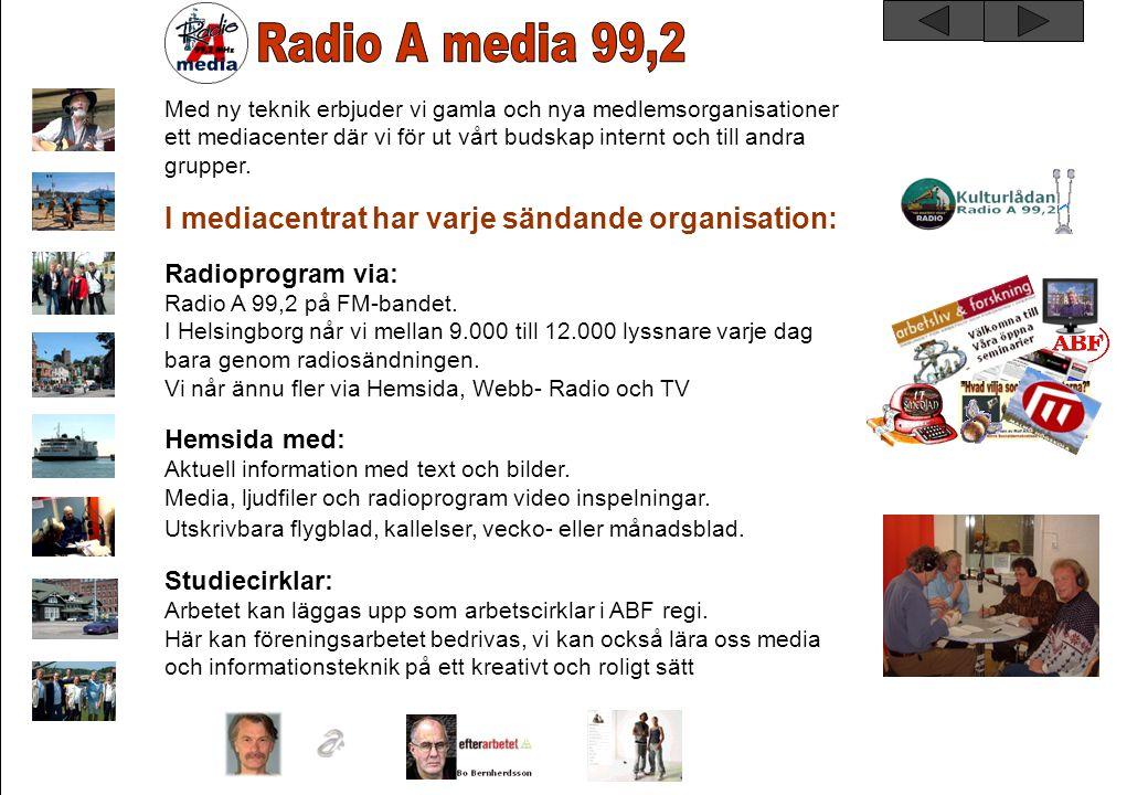 Måndagar 08.00 - 09.00Ledig tid 12.00 - 13.00 Radio CambaCarlos Kock 13.00 - 14.00 Radio RSMHHåkan Lindgren 17.00 - 18.00Ledig tid Tisdagar 08.00 - 09.00Ledig tid 12.00 - 13.00 FMLSRolf Andersson 13.00 - 14.00 TransportMagnus Thelander 17.00 - 18.00DHS (start 2008) Onsdagar 07.30 - 09.00God morgon Hbg Anders Berg & Ingvar Wille Wihlborg 12.00 - 13.00KulturlådanRolf Andersson 13.00 - 14.00 Schizofreniföreningen Nv Skåne Solveig Hjerpe 17.00 - 18.00Ledig tid Torsdagar 08.00 - 09.00ABF 12.00 - 13.00Länkarna 13.00 - 14.00SAP 17.00 - 18.00Ledig tid Fredagar 07.30 - 09.00God morgon Hbg Anders Berg & Ingvar Wille Wihlborg 12.00 - 13.00 FredaxMixenKarin Arntsen 13.00 - 14.00 Café RememberGunnar Schöld 16.00 - 22.00 Ledig tid Lördagar 12.00 - 21.00 Ledig tid Radio A Helsingborg sänder sammanlagt 35 timmar per vecka.