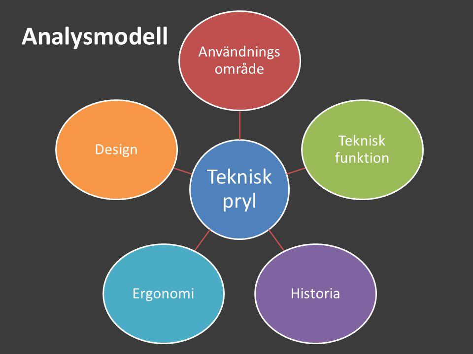 Analysmodell Teknisk pryl Användnings område Teknisk funktion HistoriaErgonomiDesign