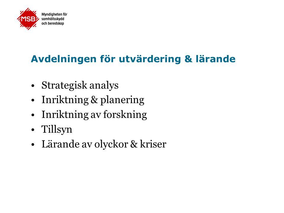 Avdelningen för utvärdering & lärande •Strategisk analys •Inriktning & planering •Inriktning av forskning •Tillsyn •Lärande av olyckor & kriser
