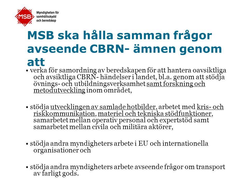 Den svenska regeringen undertecknade den 13 april 2007 ett avtal om forsknings- och utvecklingsfrågor inom det civila säkerhetsområdet med den amerikanska regeringen.