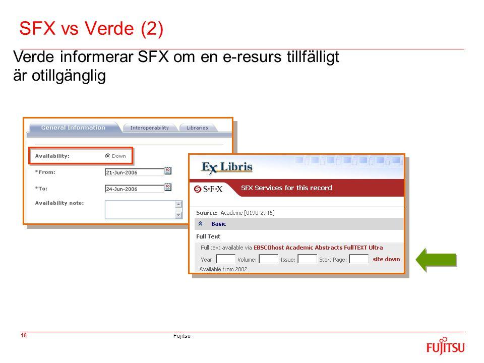 Fujitsu 16 SFX vs Verde (2) Verde informerar SFX om en e-resurs tillfälligt är otillgänglig