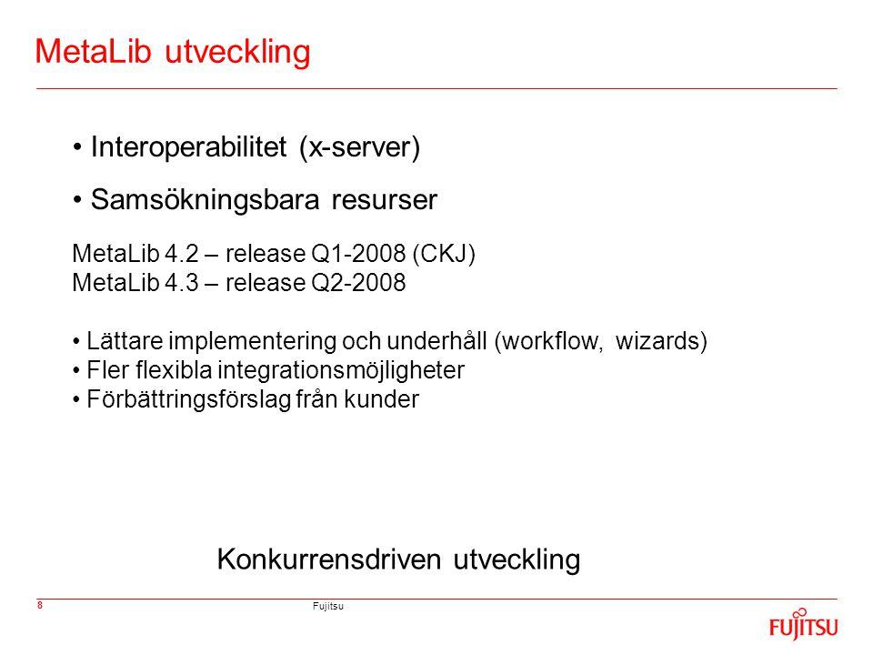 Fujitsu 19 SFX vs Verde (1) Att tänka på vid start med ERM system: - Egen instans av SFX - Hur vill man hantera de nationella resurserna - Samarbeta/konsortium underlättar