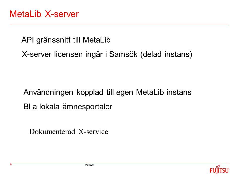 Fujitsu 9 MetaLib X-server API gränssnitt till MetaLib X-server licensen ingår i Samsök (delad instans) Användningen kopplad till egen MetaLib instans Bl a lokala ämnesportaler Dokumenterad X-service
