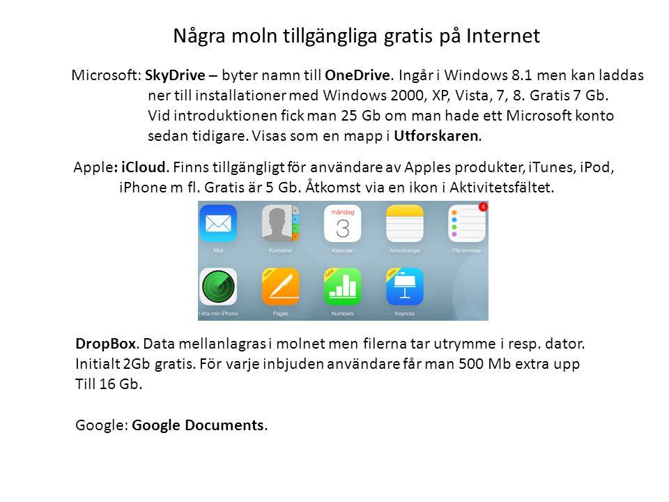 Några moln tillgängliga gratis på Internet Microsoft: SkyDrive – byter namn till OneDrive.