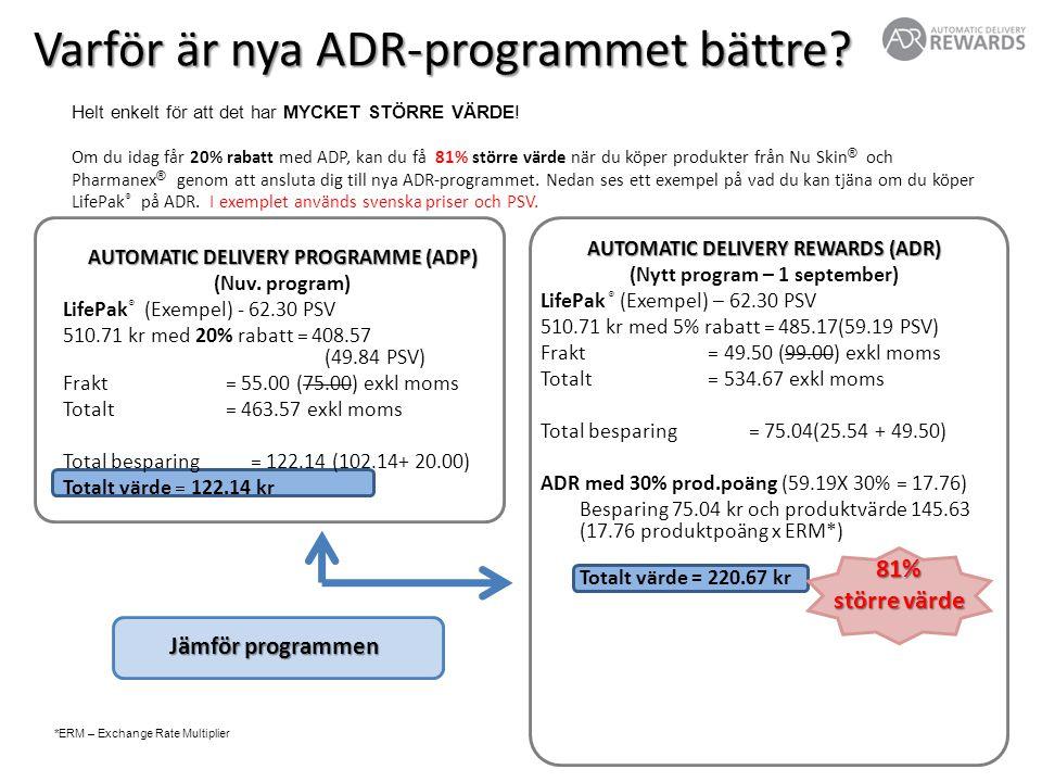 AUTOMATIC DELIVERY REWARDS (ADR) (Nytt program – 1 september) LifePak ® (Exempel) – 62.30 PSV 510.71 kr med 5% rabatt = 485.17(59.19 PSV) Frakt = 49.50 (99.00) exkl moms Totalt = 534.67 exkl moms Total besparing= 75.04(25.54 + 49.50) ADR med 30% prod.poäng (59.19X 30% = 17.76) Besparing 75.04 kr och produktvärde 145.63 (17.76 produktpoäng x ERM*) Totalt värde = 220.67 kr AUTOMATIC DELIVERY PROGRAMME (ADP) (Nuv.