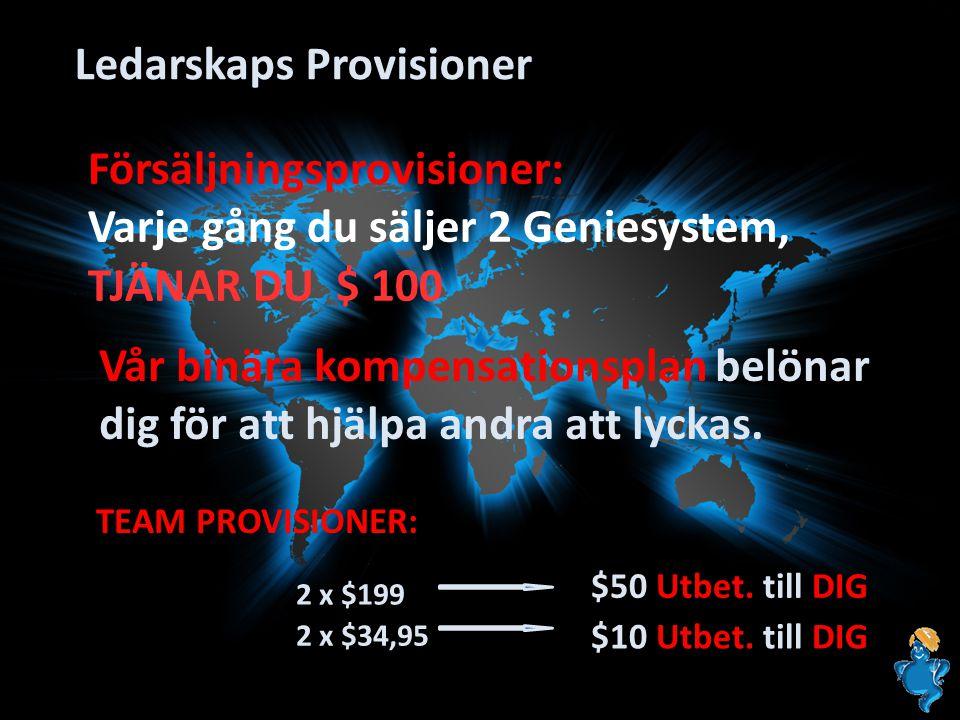 Ledarskaps Provisioner Vår binära kompensationsplan belönar dig för att hjälpa andra att lyckas. 2 x $199 $50 Utbet. till DIG TEAM PROVISIONER: 2 x $3