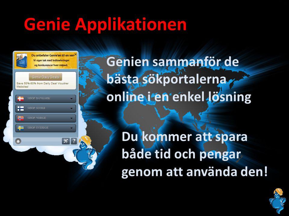 Genie Applikationen Genien sammanför de bästa sökportalerna online i en enkel lösning Du kommer att spara både tid och pengar genom att använda den!