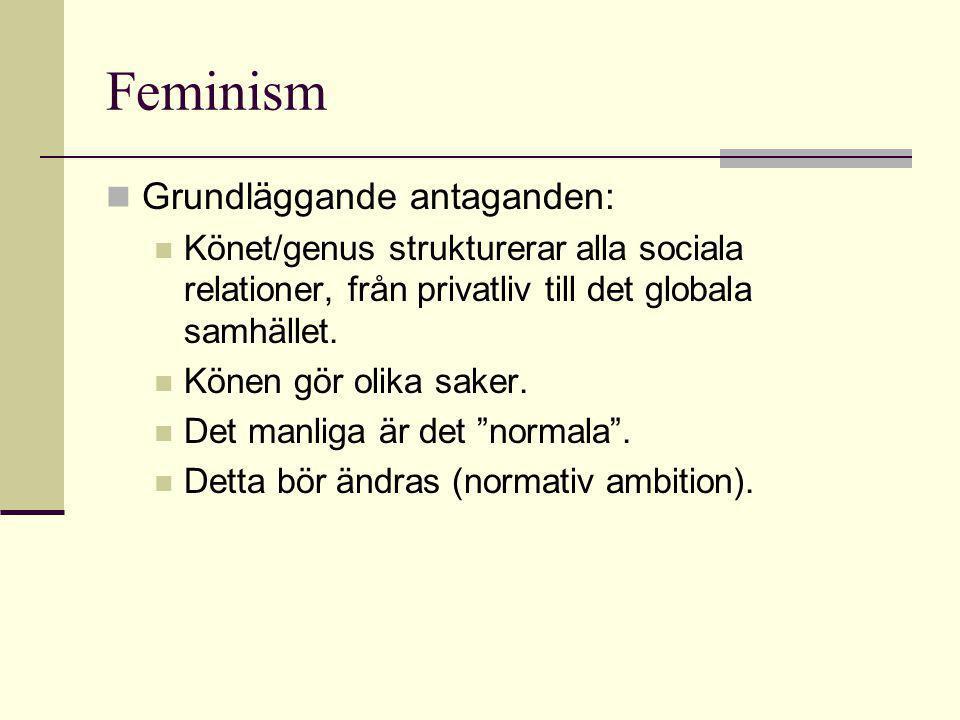 Feminism  Grundläggande antaganden:  Könet/genus strukturerar alla sociala relationer, från privatliv till det globala samhället.