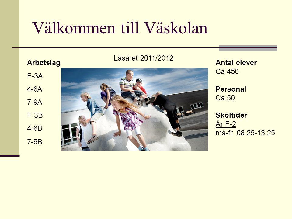 Välkommen till Väskolan Arbetslag F-3A 4-6A 7-9A F-3B 4-6B 7-9B Antal elever Ca 450 Personal Ca 50 Skoltider År F-2 må-fr 08.25-13.25 Läsåret 2011/201