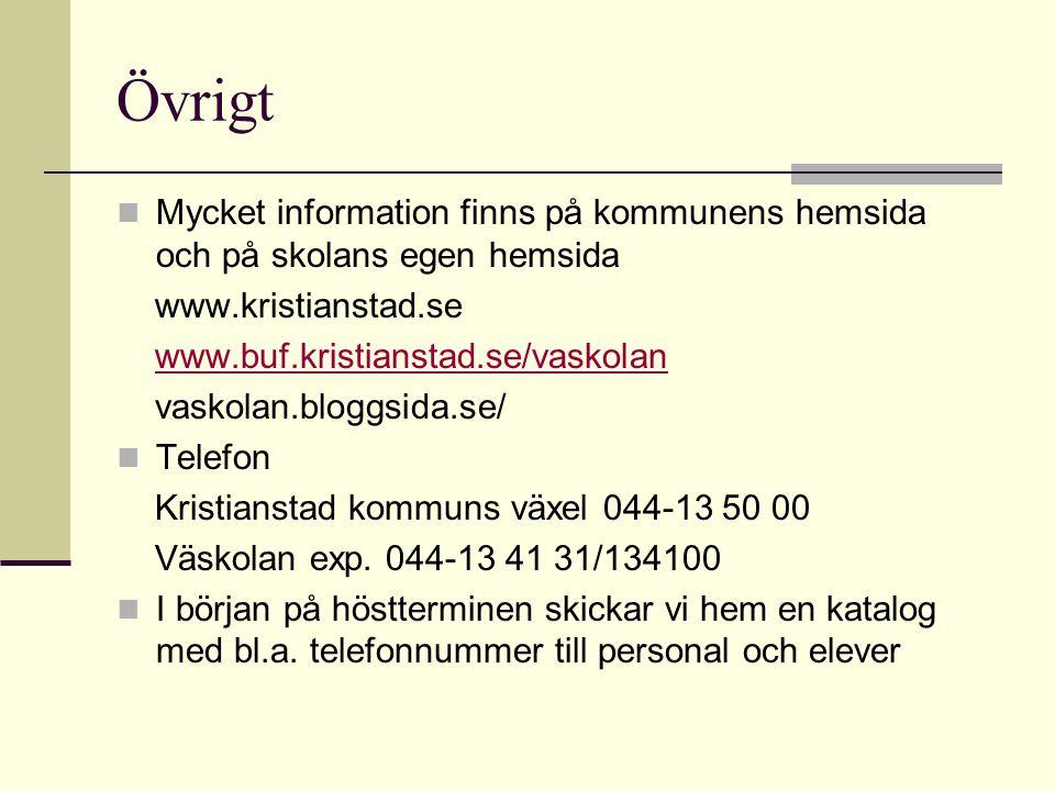 Övrigt  Mycket information finns på kommunens hemsida och på skolans egen hemsida www.kristianstad.se www.buf.kristianstad.se/vaskolan vaskolan.blogg