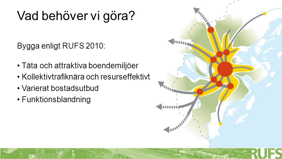 Bygga enligt RUFS 2010: • Täta och attraktiva boendemiljöer • Kollektivtrafiknära och resurseffektivt • Varierat bostadsutbud • Funktionsblandning Vad behöver vi göra?