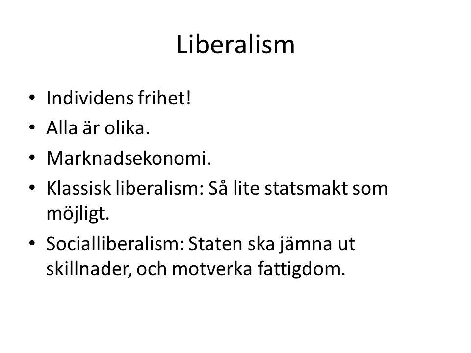 Liberalism • Individens frihet.• Alla är olika. • Marknadsekonomi.