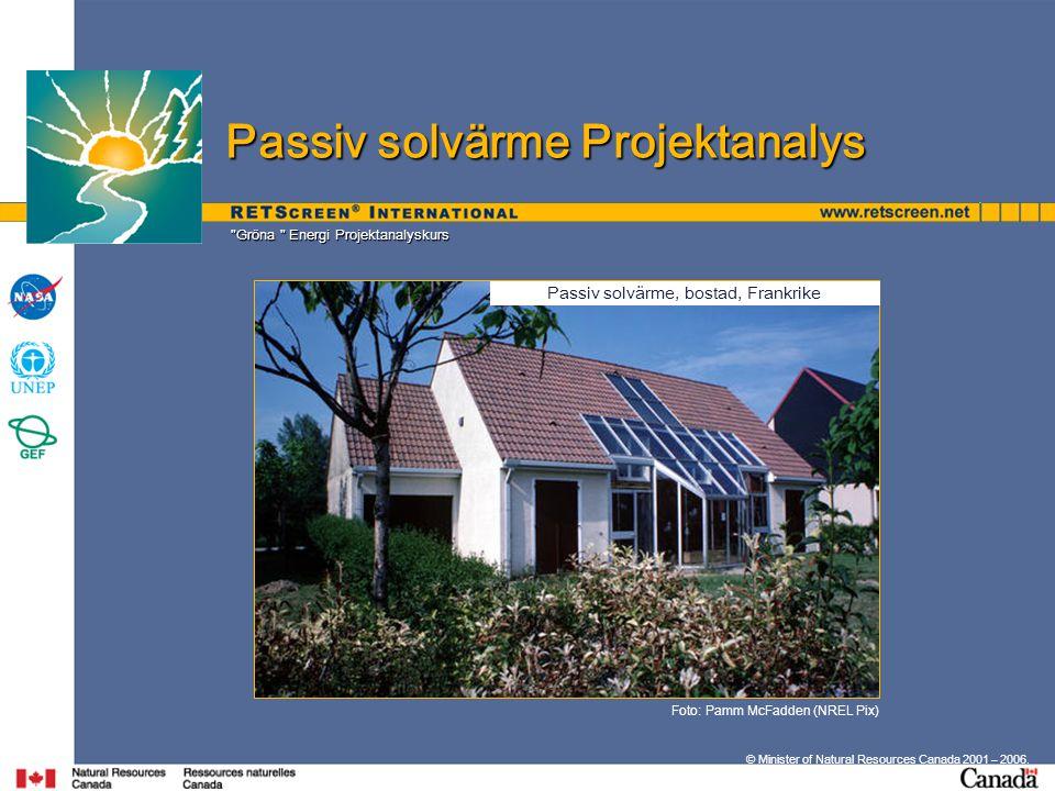 Gröna Energi Projektanalyskurs © Minister of Natural Resources Canada 2001 – 2006.