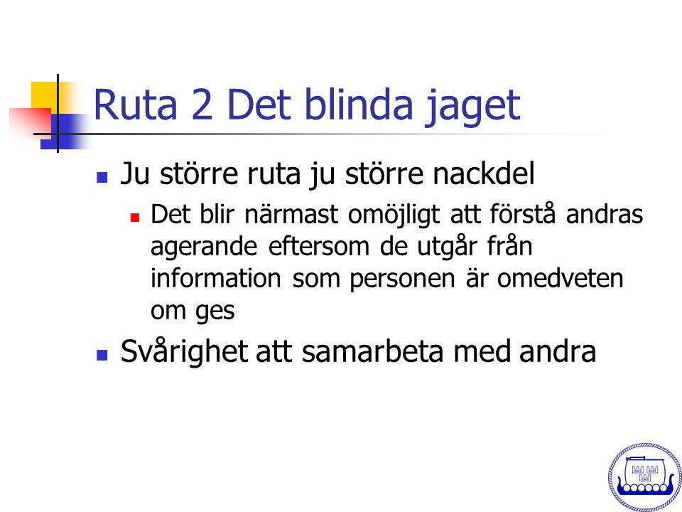 Ruta 2 Det blinda jaget  Ju större ruta ju större nackdel  Det blir närmast omöjligt att förstå andras agerande eftersom de utgår från information s