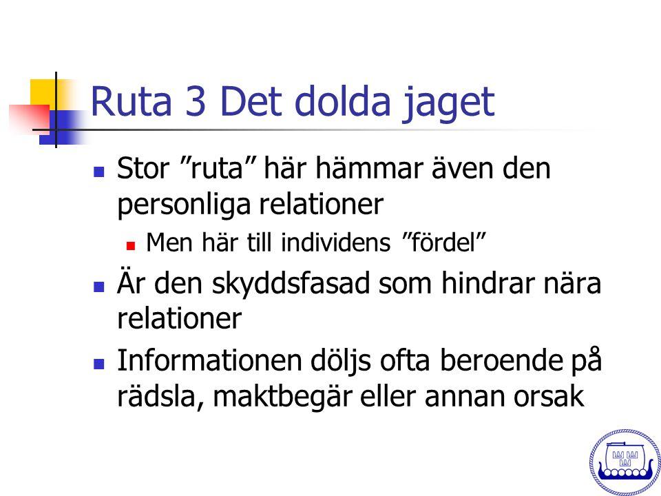 """Ruta 3 Det dolda jaget  Stor """"ruta"""" här hämmar även den personliga relationer  Men här till individens """"fördel""""  Är den skyddsfasad som hindrar när"""