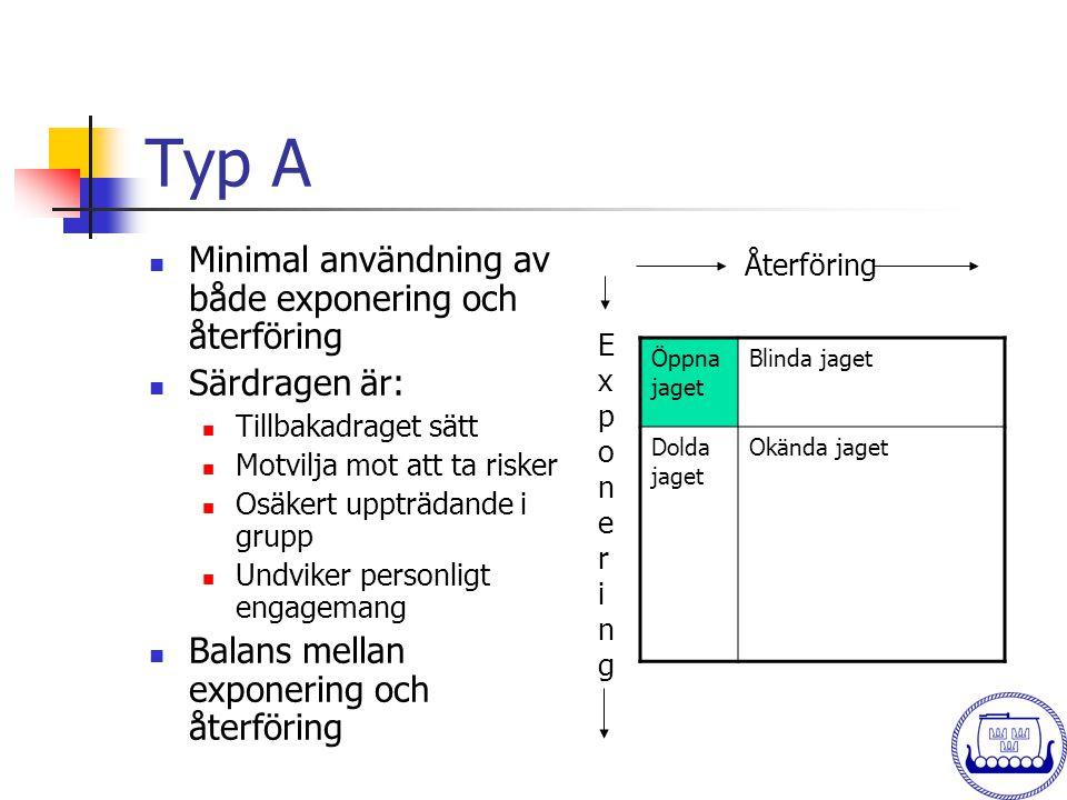 Typ A  Minimal användning av både exponering och återföring  Särdragen är:  Tillbakadraget sätt  Motvilja mot att ta risker  Osäkert uppträdande