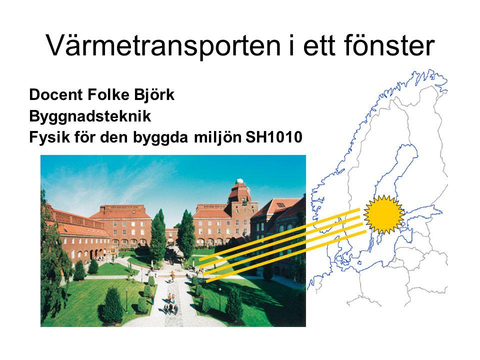 Docent Folke Björk Byggnadsteknik Fysik för den byggda miljön SH1010 Värmetransporten i ett fönster
