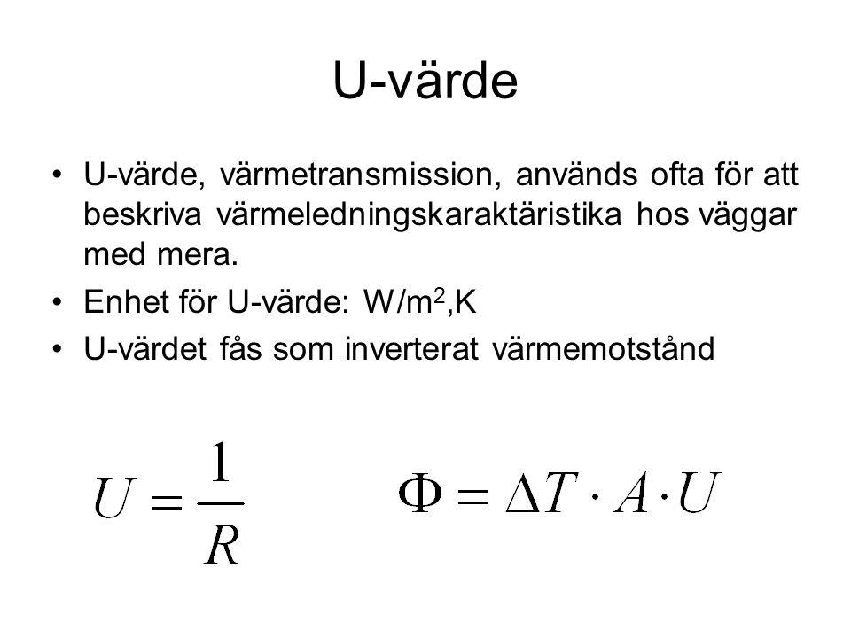 U-värde •U-värde, värmetransmission, används ofta för att beskriva värmeledningskaraktäristika hos väggar med mera. •Enhet för U-värde: W/m 2,K •U-vär
