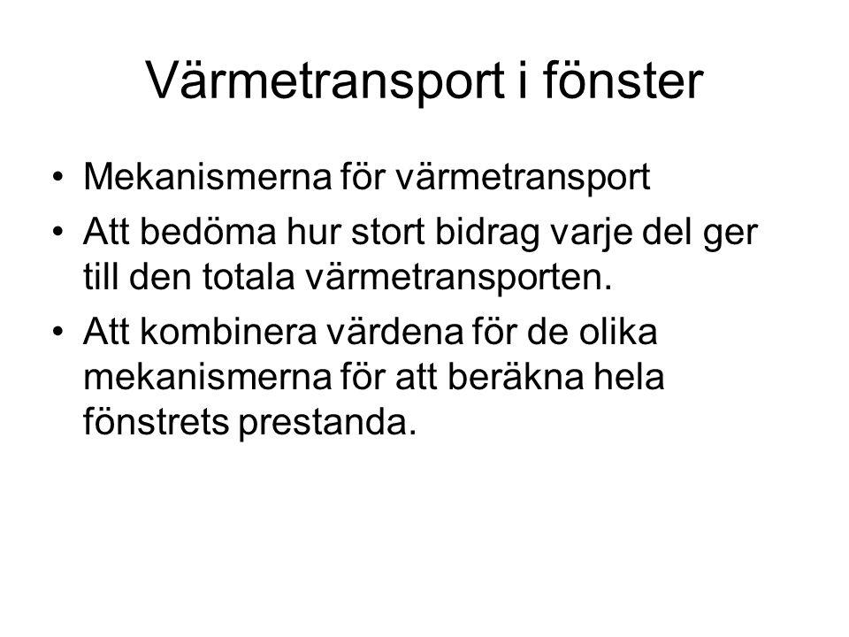 Värmetransport i fönster •Mekanismerna för värmetransport •Att bedöma hur stort bidrag varje del ger till den totala värmetransporten. •Att kombinera