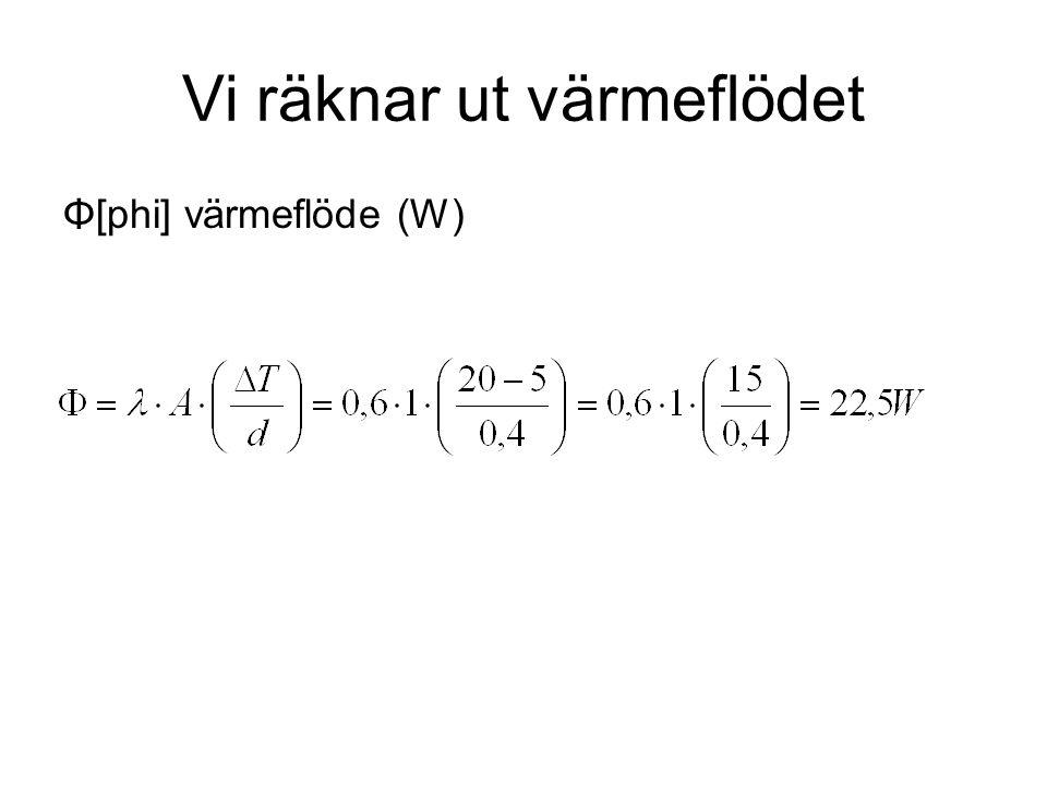 Vi räknar ut värmeflödet Φ[phi] värmeflöde (W)