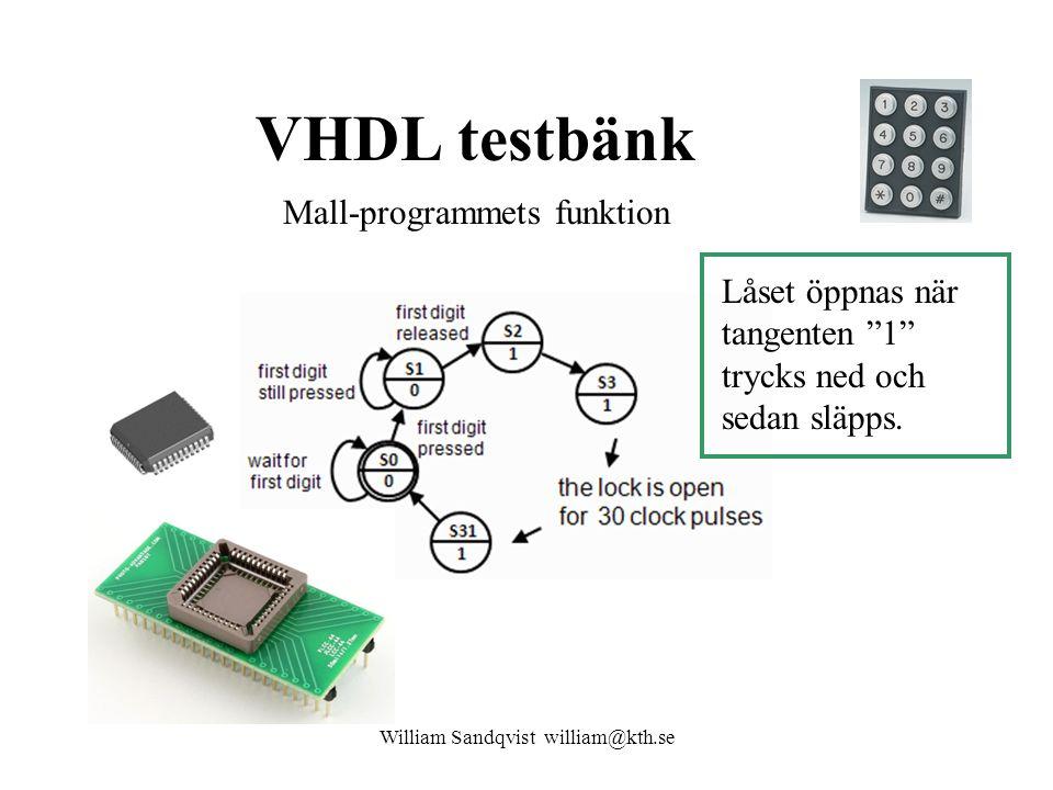 """VHDL testbänk William Sandqvist william@kth.se Mall-programmets funktion Låset öppnas när tangenten """"1"""" trycks ned och sedan släpps."""