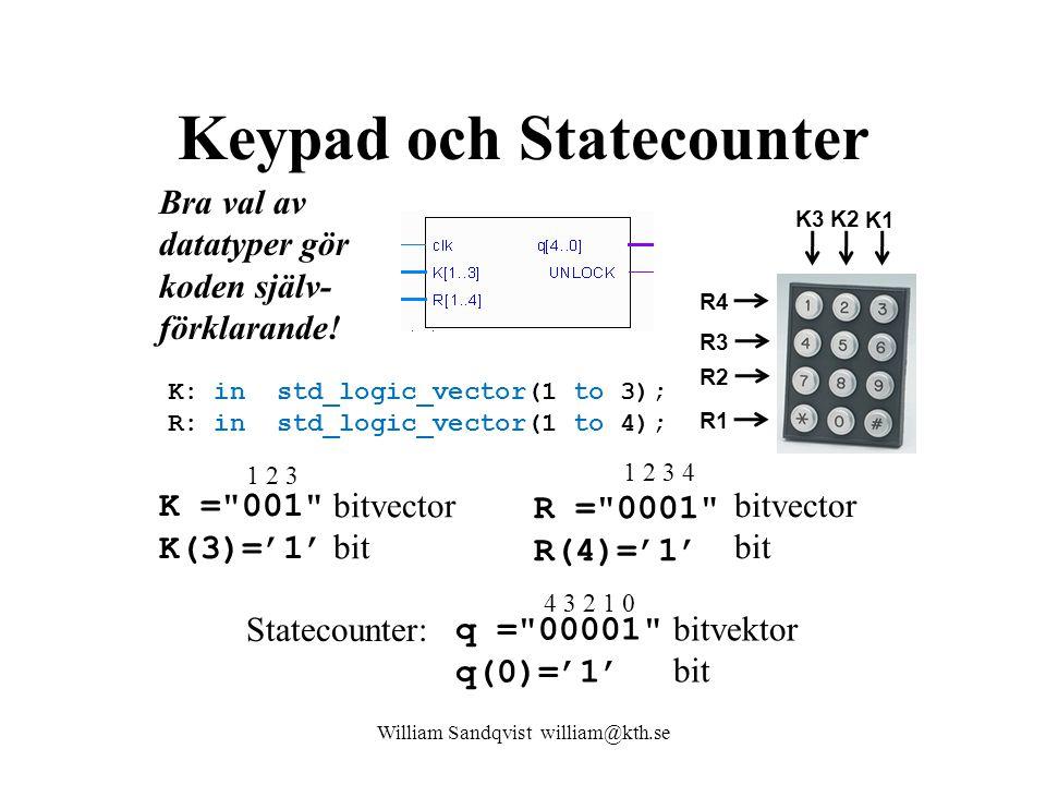 Keypad och Statecounter K: in std_logic_vector(1 to 3); R: in std_logic_vector(1 to 4); William Sandqvist william@kth.se K1 K2K3 R4 R3 R2 R1 R = 0001 R(4)='1' bitvector bit 1 2 3 4 K = 001 K(3)='1' bitvector bit 1 2 3 Statecounter: q = 00001 q(0)='1' bitvektor bit 4 3 2 1 0 Bra val av datatyper gör koden själv- förklarande!
