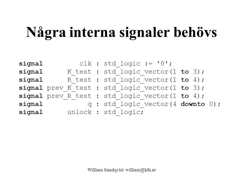 Några interna signaler behövs signal clk : std_logic := 0 ; signal K_test : std_logic_vector(1 to 3); signal R_test : std_logic_vector(1 to 4); signal prev_K_test : std_logic_vector(1 to 3); signal prev_R_test : std_logic_vector(1 to 4); signal q : std_logic_vector(4 downto 0); signal unlock : std_logic; William Sandqvist william@kth.se
