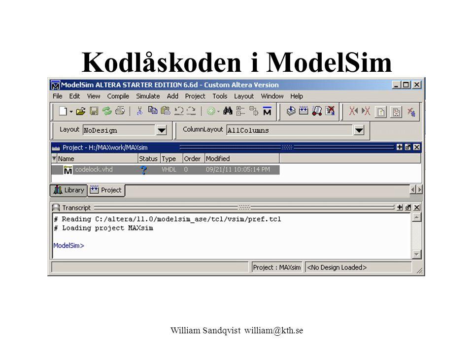 Kodlåskoden i ModelSim William Sandqvist william@kth.se