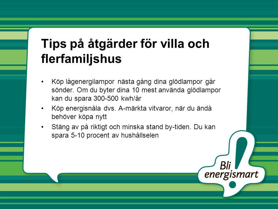 Tips på åtgärder för villa och flerfamiljshus •Köp lågenergilampor nästa gång dina glödlampor går sönder. Om du byter dina 10 mest använda glödlampor