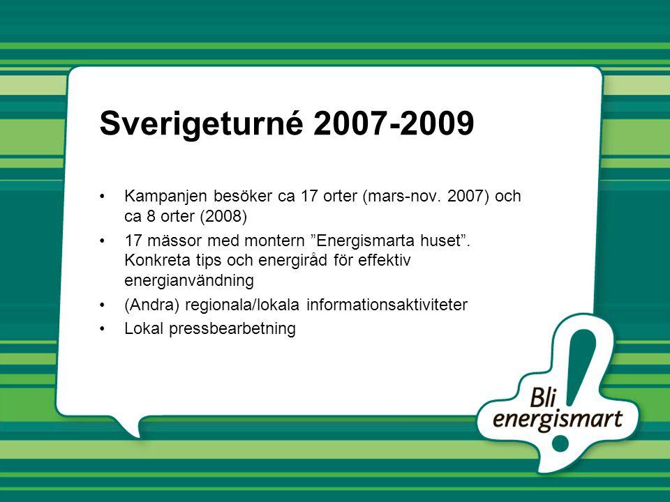 """Sverigeturné 2007-2009 •Kampanjen besöker ca 17 orter (mars-nov. 2007) och ca 8 orter (2008) •17 mässor med montern """"Energismarta huset"""". Konkreta tip"""